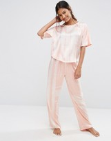 Asos Graphic Stripe Satin Tee & Long Leg Pyjama Set