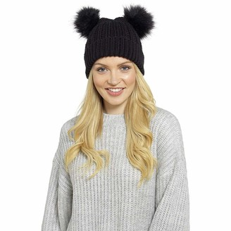 Hi Fashionz Ladies Winter Beanie Cap with Chunky Knitted Women Double Fur Bobble Pom Pom Hat#(Black Ladies Chunky HAT with Two Fur BOBBLES#1 Pair#One Size#RJMGL542#Women)