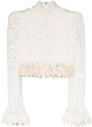 Zimmermann Cropped Fringed Lace Blouse