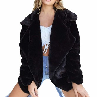 Sonnena Women Outerwear Clearence!!!Sonnena Women Ladies witer Warm Casual Faux Fur Coat Fashion Artificial Elegant Cool Jacket Winter Plus Size Loose fit Soft and Thick Notched Solid Outerwear Outdoor Coat Jacket Black