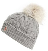 Moncler Women's 'Berreto' Wool & Cashmere Cable Knit Beanie With Genuine Coyote Fur Pom - Grey