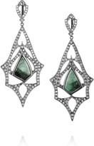 Loree Rodkin Teardrop 18-karat rhodium white gold, diamond and emerald earrings