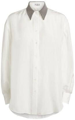 Brunello Cucinelli Jewelled-Collar Shirt