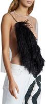 Dries Van Noten Sheer Sleeveless Shirt with Feather Detail