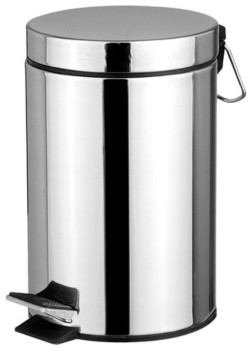 Home Basics Polished Stainless Steel Round Waste Bin