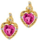 Gem Stone King 1.87 Ct Heart Shape Pink Mystic Topaz White Diamond 14K Yellow Gold Earrings