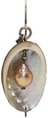 Ann Demeulemeester Silver Seashell and Pearl Single Earring