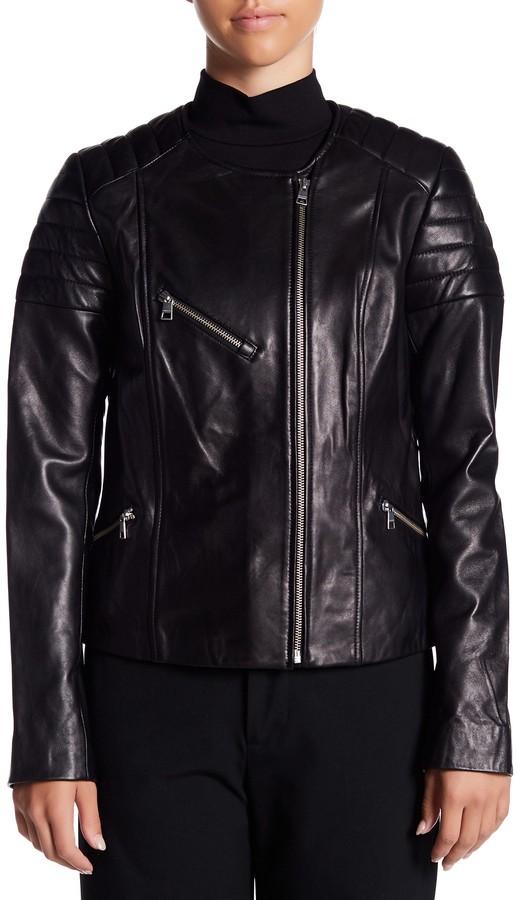 Soia & Kyo Leather Asymmetrical Moto Jacket