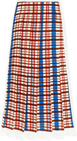 Victoria Beckham Pleated Checked Crepe Midi Skirt