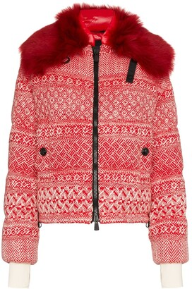 MONCLER GRENOBLE Siusi printed fur trimmed feather down jacket