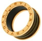 Bulgari 18K Rose Gold 4 Band Brown Marble Ring