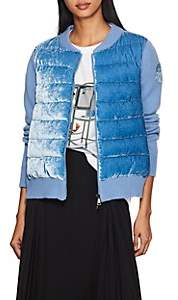 Moncler Women's Velvet-Front Wool-Cashmere Cardigan - Lt. Blue