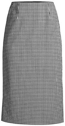 Elie Tahari Mila Gingham Seersucker Skirt