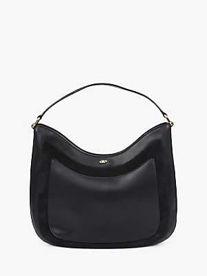 Jaeger Leather Suede Hobo Bag, Black