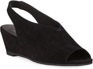 Eileen Fisher Clay Suede Slingback Wedge Sandals