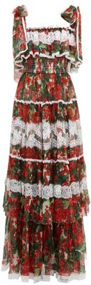 Dolce & Gabbana Tiered Geranium-print Silk-blend Chiffon Gown - Red Multi