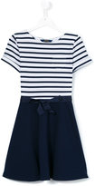Polo Ralph Lauren striped flared dress - kids - Polyester/Spandex/Elastane/Viscose - 14 yrs
