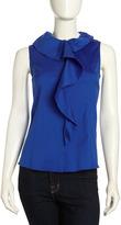 Lafayette 148 New York Ruffled Collar Stretch Poplin Blouse, Electric Blue