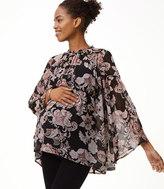 LOFT Maternity Royal Floral Blouse