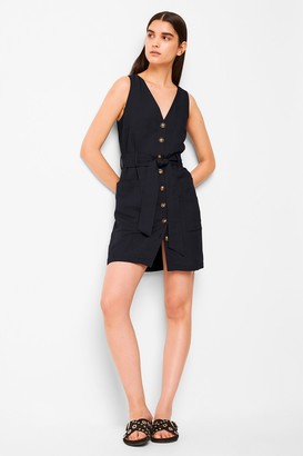 French Connenction Yester Linen Button Front Sleeveless Dress