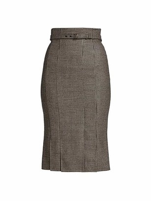 Akris Prince De Galles Check Wool Midi Skirt