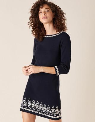 Monsoon Cornelli Trim Knit Dress Blue