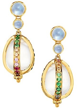 Temple St. Clair Celestial 18K Yellow Gold & Rainbow Multi-Stone Amulet Earrings