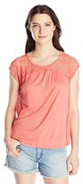 Eyeshadow Women's Knit Gauze with Lace Insert Cap Sleeve Tee