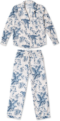Desmond & Dempsey Parrot Printed Cotton Long Pajama Set