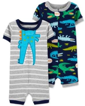 Carter's Baby Boys 2-Pk. Cotton Alligator Romper Pajamas