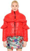 MSGM Quilted Ruffled Shining Nylon Jacket