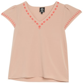 Bobeau Embroidered V-Neck Flutter Sleeve Top