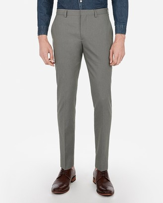 Express Extra Slim Olive Green Cotton Texture Stretch Suit Pant