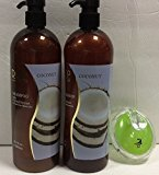 Coconut Shampoo and Conditioner for Dry and Damaged with Dead Sea Mineral 33.8 Oz. Each and Aj Professional Shampoo Brush Bundle