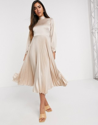 Closet London high neck satin pleated midaxi dress in cream
