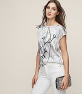 Reiss Jess - Printed Silk Front T-shirt in White, Womens
