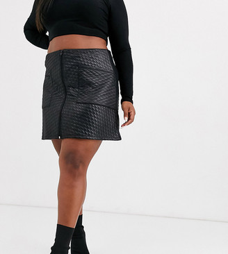 Asos DESIGN Curve leather look quilted mini skirt with zip detail-Black