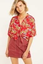 Urban Outfitters Red Floral Souvenir Button-Through Shirt