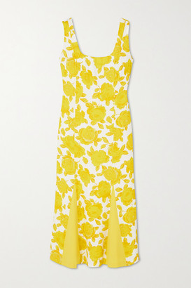 ROWEN ROSE Open-back Floral-print Crepe Midi Dress - Yellow