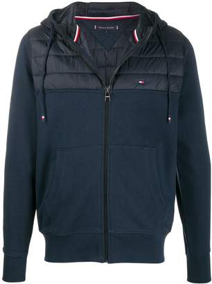 Tommy Hilfiger quilted panel zip-up hoodie