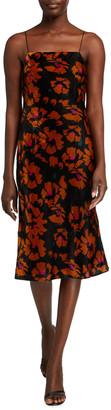Milly Gabbi Winter Floral Print Spaghetti-Strap Velvet Dress