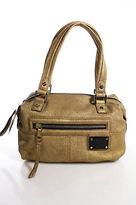 L.A.M.B. Metallic Gold Leather NEW Zipper Closure Double Strap Shoulder Handbag