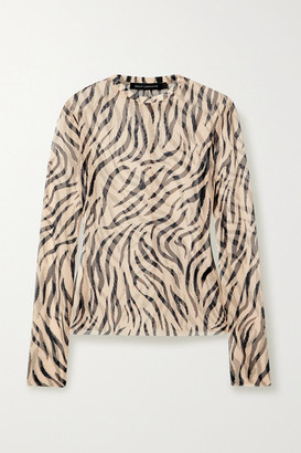 Sally LaPointe Zebra-print Stretch-mesh Top - Beige