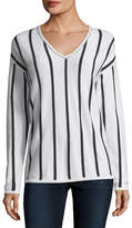 Neiman Marcus Chain-Trim Striped Cashmere V-Neck Sweater