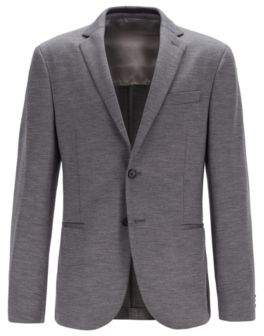 BOSS Slim-fit jacket in traceable Italian merino wool