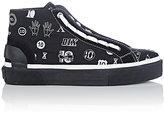 "Lanvin Men's ""10""-Pattern Jacquard Mid-Top Sneakers-BLACK"