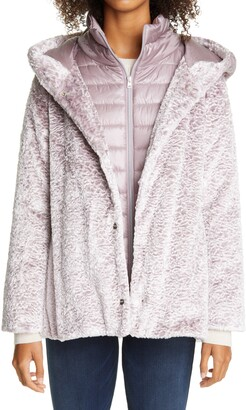 Herno Hannover Hooded Faux Persian Lamb Fur Coat with Removable Down Bib