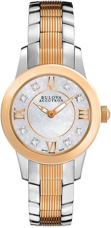 Bulova AccuSwiss Watch, Women's Swiss Masella Diamond Accent Two-Tone Stainless Steel Bracelet 31mm 65P106
