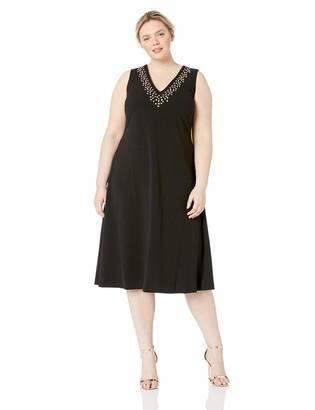 Calvin Klein Women's Plus Size Sleeveless Midi with Embellished Neck Dress