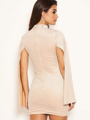 AX Paris Petite Long Split Sleeved Sparkle Bodycon Dress - Champagne